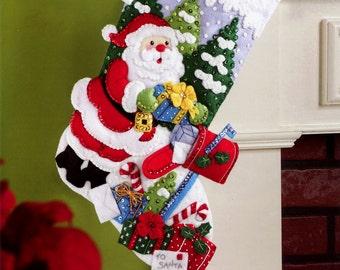 "Bucilla ~ ""Santa's Mailbox"" Felt Christmas Stocking Kit #86576 DIY"
