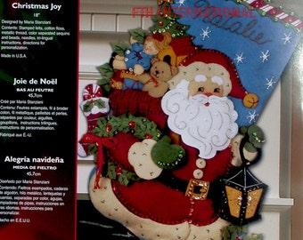 "Bucilla ~ Christmas Joy ~ 18"" #86019,Felt Christmas Stocking Kit Santa, Toys DIY"