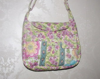 Handmade Quilted Purse, Handbag, Quilted handbag, Pink Paisley 159A-160A