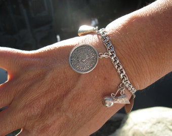 Sterling Silver Mexican Charm Bracelet