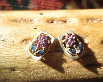 Beautiful Amethyst, Iolite and Sterling Post Earrings