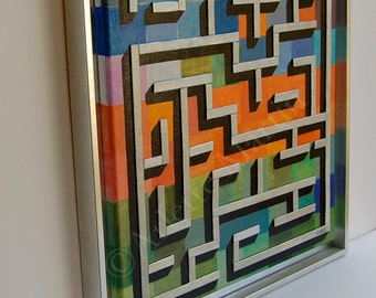 ART WORK.Painting ORIGINAL.Wall Art. Acryl painting.Maze.Wall art decor home.Bamboo Wood