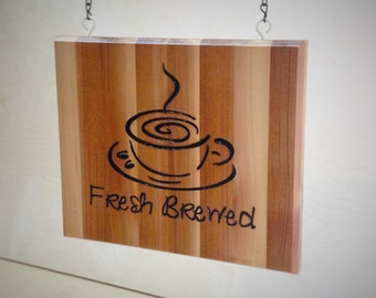 """Hanging Cedar Collage (Fresh Brewed) 11.5"""" x 9.5"""" with black chain and colonial ivory eye hooks"""