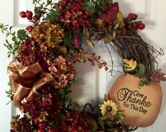 FALL WREATH,Front Door Wreath,Thanksgiving Wreath, Pumpkin  Wreath,Halloween Wreath,Hydrangea Wreath, Harvest  Wreath,Fall Flower Wreath