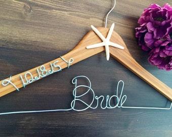 Bridal Hanger with wedding date Bride Hanger with starfish, Beach Wedding, Name Hanger, Wedding Hanger, Personalized Bridal hanger, Bridal