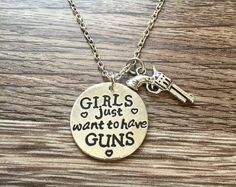 Guns Necklace Girls Want To Have Guns Necklace Cowgirl Guns Country Necklace Pistol Necklace Revolver Silver Gun Jewelry Western Wild West