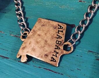 Alabama Bracelet Home State Alabama Home Is Where The Heart Is Bama Alabama Jewelry Hand Stamped Bracelet Alabama Country Native Rustic