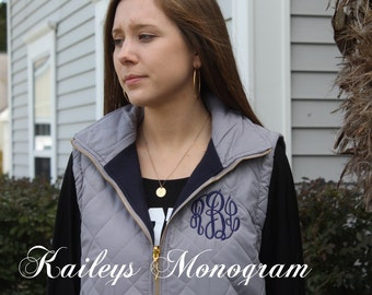 Monogram Vest - Preppy Monogram - Vest - Puffy Vest - Outerwear - Monogram Vest for Women - Puffer Vest - Personalized Vest - Christmas Gift