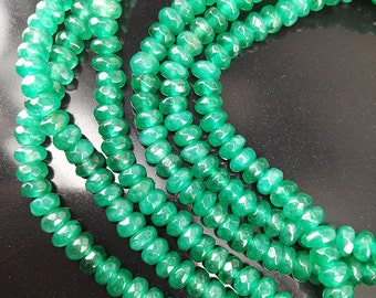 Full Strand 4x3mm 139pcs Green Agate Faceted Rondelle Beads Agate Gemstone Beads