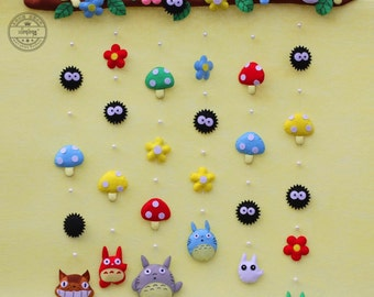 Totoro Felt Curtains Door Beads / Hanging Screen / Plush Mascot / Home Decor / DIY Kit / Handmade Finished Product