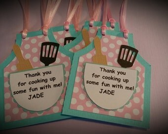 Cooking Party Favor Tags - Baking Party Favor Tags - Birthday Party Favor Tags Set of 12