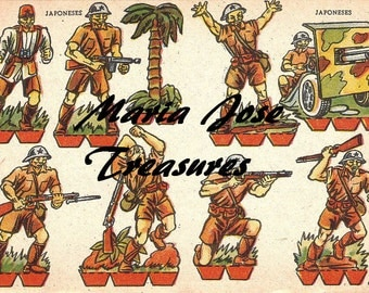 Vintage Japanese soldiers Doll Cut Outs - Digital Download