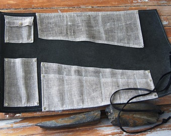 Black Leather and Canvas Multi-Use tool roll