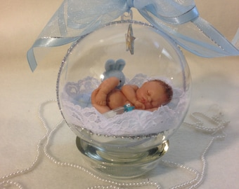 "A Baby Boy with his bunny...Polymer Clay 4"" Keepsake Ornament with base"