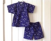 2-Piece Toddler Jinbei Kimono, Japanese Ripple fabric, Dragonfly