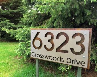 Stainless steel garden stake type address plaque