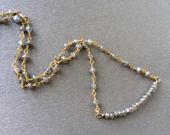 Labradorite Necklace, Labradorite Bar Necklace, Labradorite Chain Necklace,