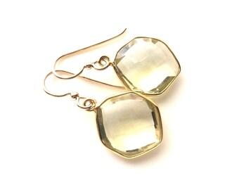 Light Yellow Earrings, Lemon Quartz Gold Earrings, Hexagon Earrings