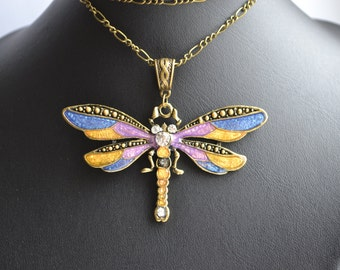 pendant dragonfly  Dragonfly Necklace  Dragonfly Jewelry  colorful Dragonfly  Necklace