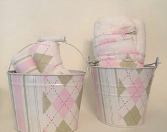Pink & Green Diamond Hooded Towels