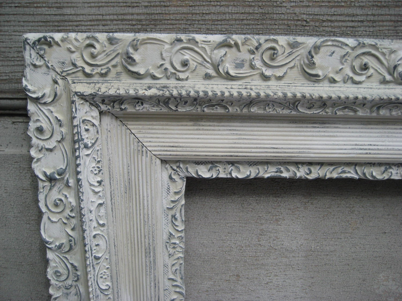 large white distressed picture frame antique frame rustic. Black Bedroom Furniture Sets. Home Design Ideas