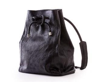 Versatile Bag, Black Leather Bag, Handmade bag, Crossbody Bag, Bucket Bag, Small Bag, Posh backpack, Leather backpack, bla