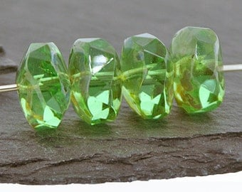 Peridot Green Picasso 14x9mm Wavy Faceted Rondelles Czech Glass Beads x 4