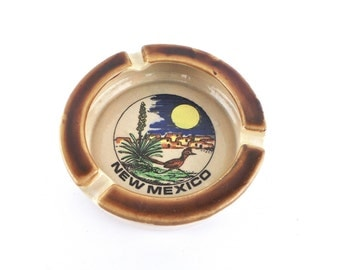 1970s New Mexico Souvenir Ashtray, Mid Century Collectible Ash Tray, Ash Tray, New Mexico, Travel Collectibles