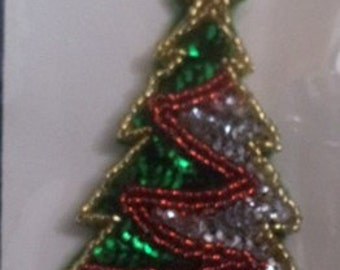 Christmas Tree Sequin Pin with Red Garland