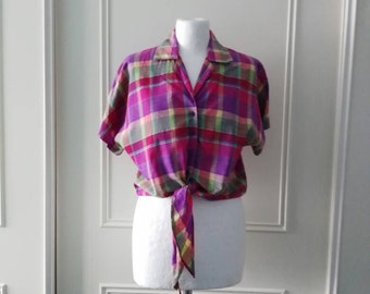 Checked cropped oversized blouse 80's vintage blouse short sleeved summer blouse size small 10/12/14