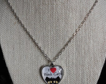 I Love Black Cats - Silver Heart
