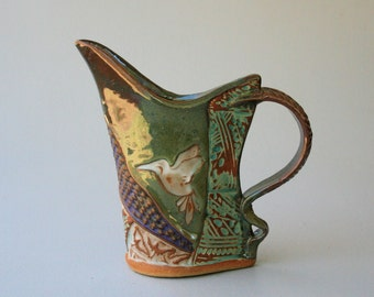 Hummingbird Pottery Pitcher Handmade Stoneware Functional Tableware Microwave and Dishwasher Safe Terricotta Clay with Textural Design 16 oz