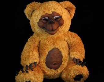 Teddy Bear plushie artist hand made art bear woodland creature Smilin' Joe  scary handmade artist teddy bear