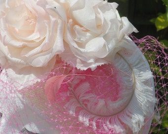 Ivory and Pink Fascinator made on headband. Wedding ,races, garden party