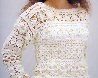 Crochet blouse  - made to order - tunic -hand made