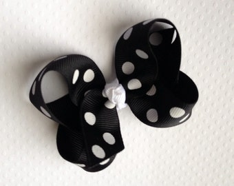 Black with White Dot  3 inch Hair Bow