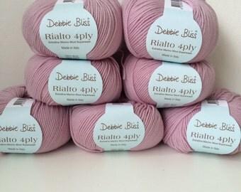 7 x 50g Debbie Bliss Rialto 4 ply wool yarn 100% extra fine merino  wool pale lilac 35