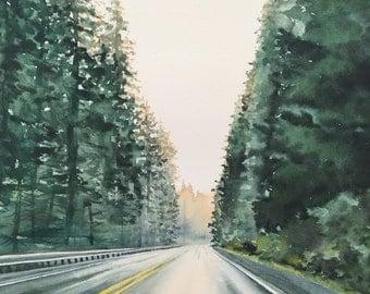 Rainy Drive - Original watercolor painting
