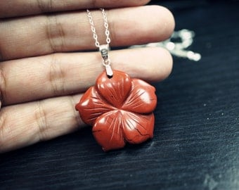Red Jasper Necklace In Sterling Silver Red Jasper Flower Pendant - Root Chakra Healing Necklace - Gift For Her - Stone Flower Necklace