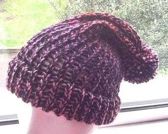 Chunky Slouchy Hat, Slouchy Pom Pom Hat, Yarn Pom Pom Hat, Woolly Pom Pom Hat, Knit Slouchy Hat, Slouchy Beanie, Woolly Slouchy Hat