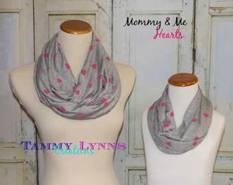 NEW!! Mommy & Me Matching Gray with Pink Hearts Light weight Jersey Knit Mother Daughter Accessories