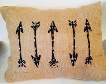 Arrows burlap pillow