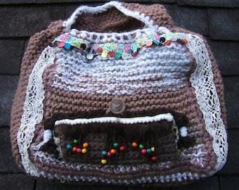 handbag Tote hand made in hook, 45 cm X 45 cm