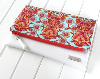 Fold Over Clutch Purse,  Fold Over Party Clutch, Fold over Clutch, Handmade Clutch, Tula Pink Fabric Fold over clutch, Deer Fabric Purse