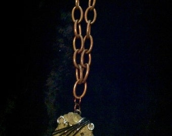Chunky Gold Druzy Rock Wire Wrapped Oxidized Copper Chain