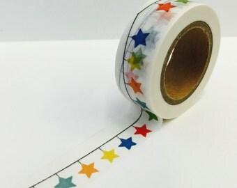 Multicolored Rainbow  Star Bunting Washi Decorative Masking Tape - Planner Supplies - Scrapbooking -  Teacher Supply ( 1429)