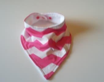 Baby Bandana Bib, Baby Bib, Dribble Bib, Drool Bib, Baby Bibs Handmade, Pink Chevron