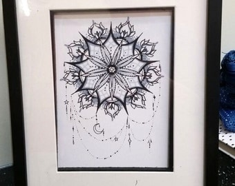 Hand drawn framed original Mandala picture