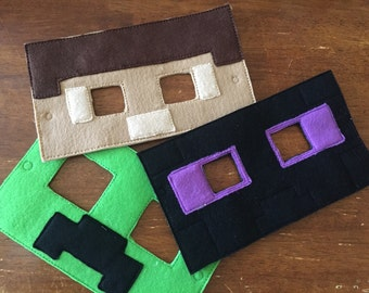 Inspired Minecraft Masks.pretend. dress up. halloween.