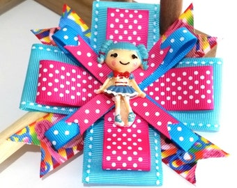 Beautiful Hair Bow for Girl - Different and Unique Lalaloopsy Hair Bow - Cute Hair Bow for Girls - Blue Lalaloopsy Hair Bow for Children